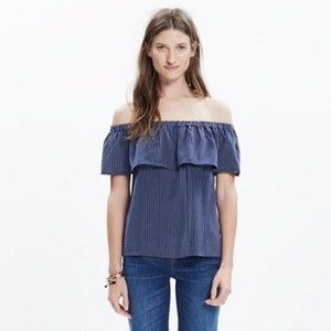Madewell silk balcony off-shoulder top